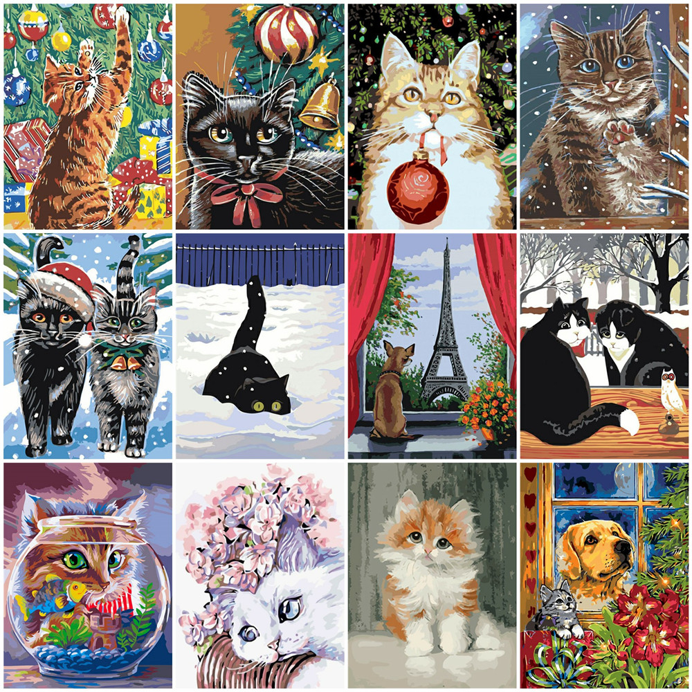 HUACAN Oil Painting Animal Drawing On Canvas HandPainted Art Gift DIY Picture By Number Cat Christmas Kits Home Decoration