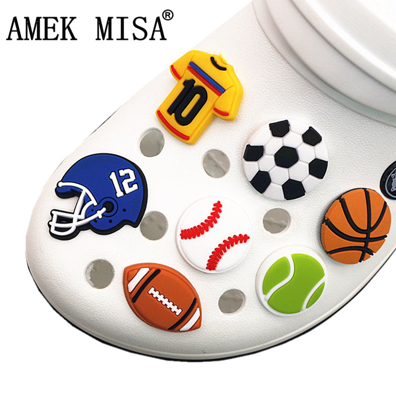1pc PVC Sports Style Shoe Decoration Basketball/Soccer/Tennis/Baseball/Football Model Shoe Charms Accessories For Croc Jibz Kids