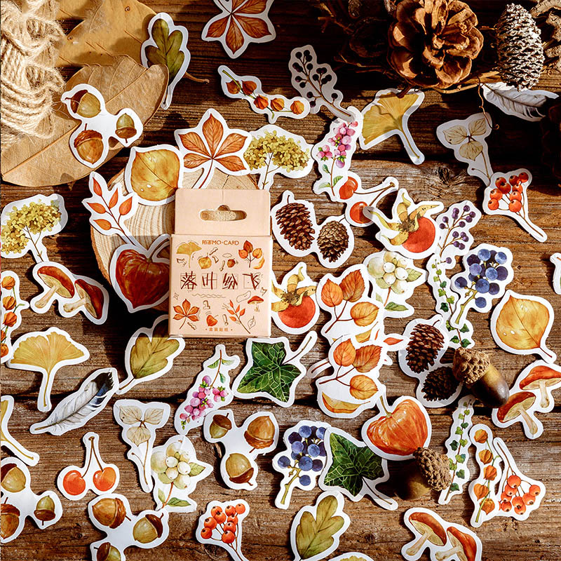 46Pcs Cute Fall Stickers Kawaii Stationery Stickers Plant Sticker For Kids DIY Decor Scrapbooking Diary Albums Supplies