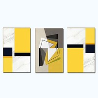 Hand Painted Abstract Three Panles Yellow Picture Canvas Oil Painting Wall Picture Living Room Home Wall Decor Drop Shipping