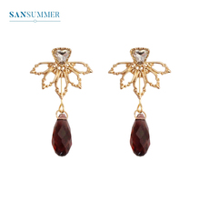 SANSUMMER Metal Hollowed Leaves Water Drill Purple Drop Glass New Style Fashionable Alloy Plating Female Earrings 6209