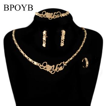 BPOYB moda prosta kocham cię Xo serce afrykańskie polinezyjskie włoskie koraliki luksusowe złoto zestaw biżuterii kolor 18 Duabai tanie i dobre opinie Ze stopu cynku CN (pochodzenie) Kobiety Metal TRENDY Earrings Necklace Bracelet Ring Naszyjnik kolczyki pierścień bransoletka
