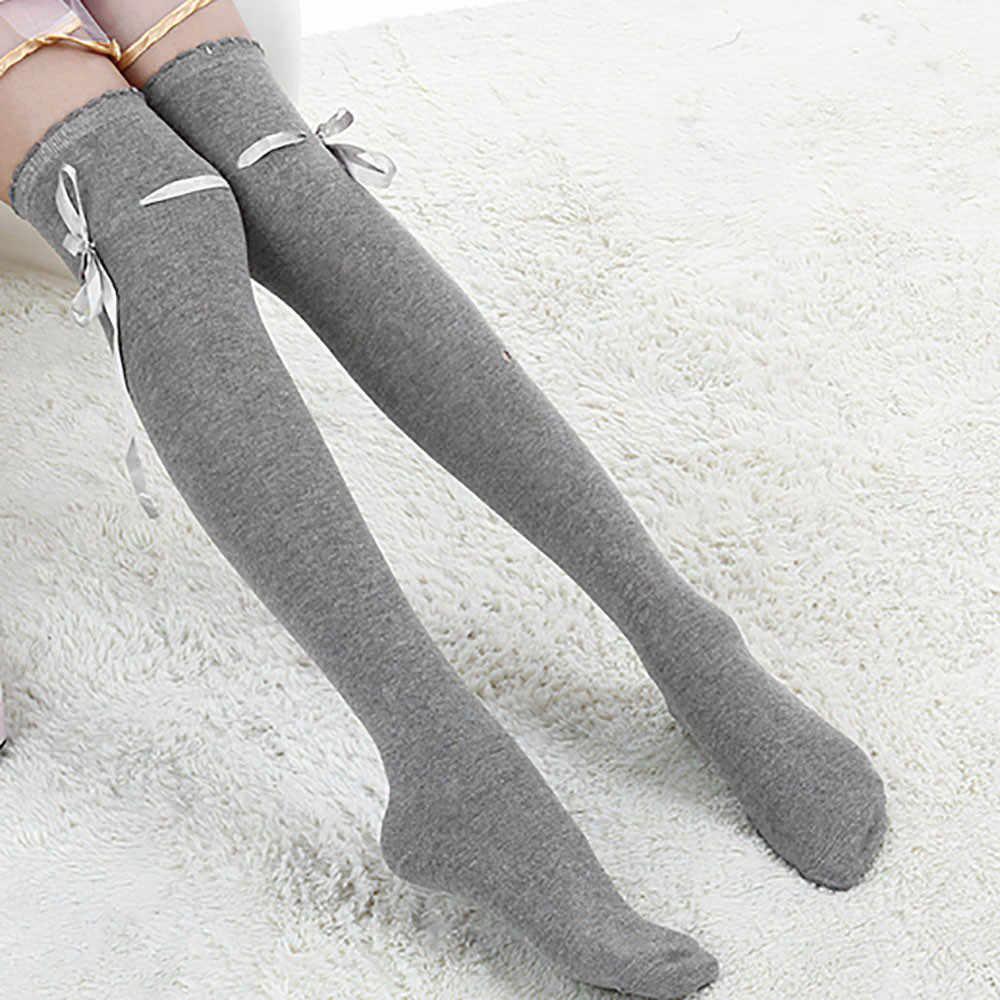 ถุงน่องผู้หญิงลูกไม้โบว์ Over เข่าต้นขาสูง STOCKING ฝ้ายหญิง Medias de Mujer ฤดูหนาวสุภาพสตรีเซ็กซี่ยาว Knittd ถุงน่อง