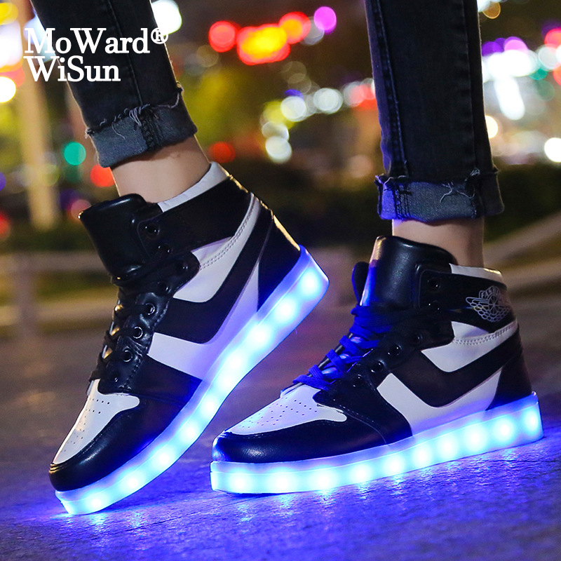 Size 35-44 Children Led Shoes For Kids Boys Glowing Luminous Sneakers For Women&Men Adult LED Lighted Shoes With Luminous Sole
