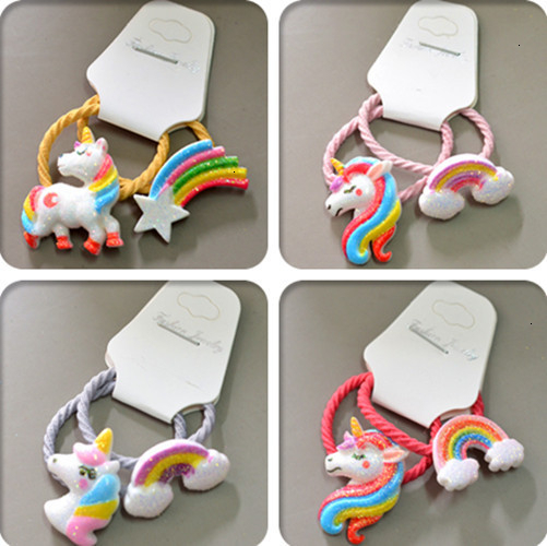 2PCS Cartoon New Cute Pony Rainbow Princess Headwear Kids Elastic Hair Bands Children Ropes Girls Accessories Baby Headdress