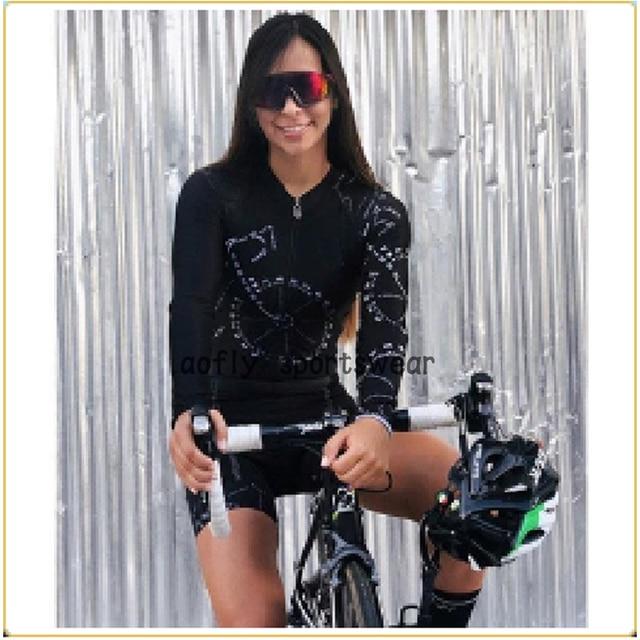 Aofly longo mangas compridas camisa de ciclismo skinsuit 2020 mulher ir pro mtb bicicleta roupas opa hombre macacão almofada rosa skinsuit macaquinho ciclismo feminino manga longa roupas com frete gratis macacao ciclis 2