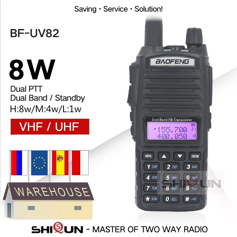 Walkie-Talkie Ham-Radio UV-5R Dual-Ptt Baofeng 8w GT-3TP 82 10KM 5W 82HP UV-82 Upgrade