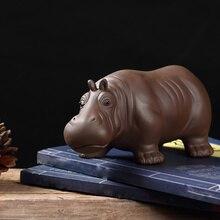 Purple Clay sand hippo tea pet ornaments boutique lucky can raise ceramic  tea set tea ceremony accessories feng shui dai yutang best selling home office feng shui ornaments ceramic buddha 12 inch maitreya d06 68