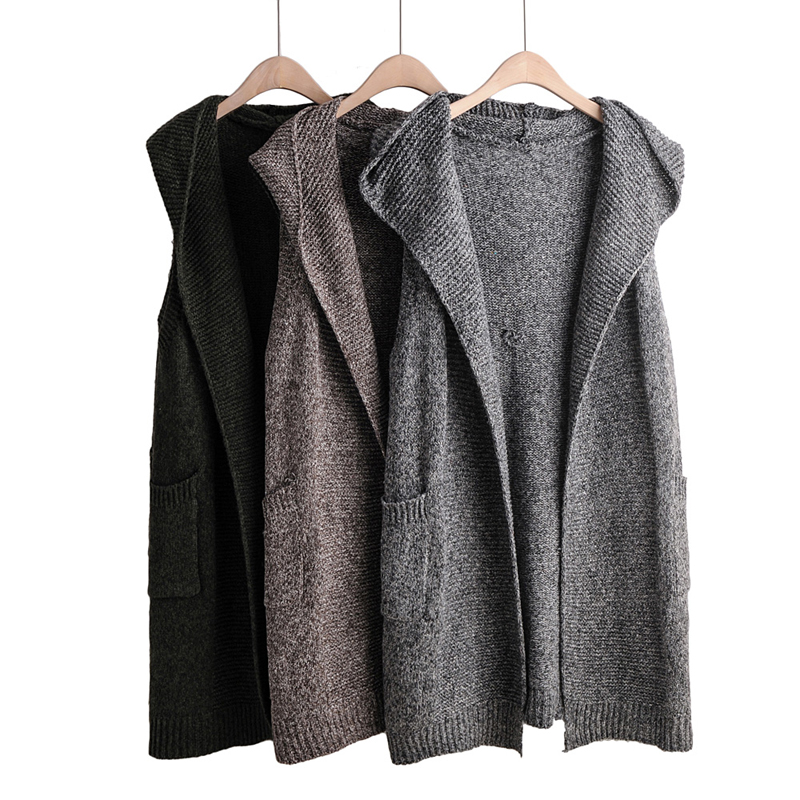 2019 Women Outwear Knitted Vest Hooded Autumn Winter WaistCoat Long Solid Sleeveless Cardigan Femme Veste Gilet Free Shipping