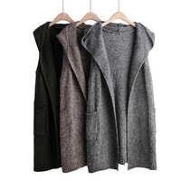 2019 femmes Outwear tricoté Gilet à capuche automne hiver Gilet longue solide sans manches Cardigan Femme Veste Gilet livraison gratuite