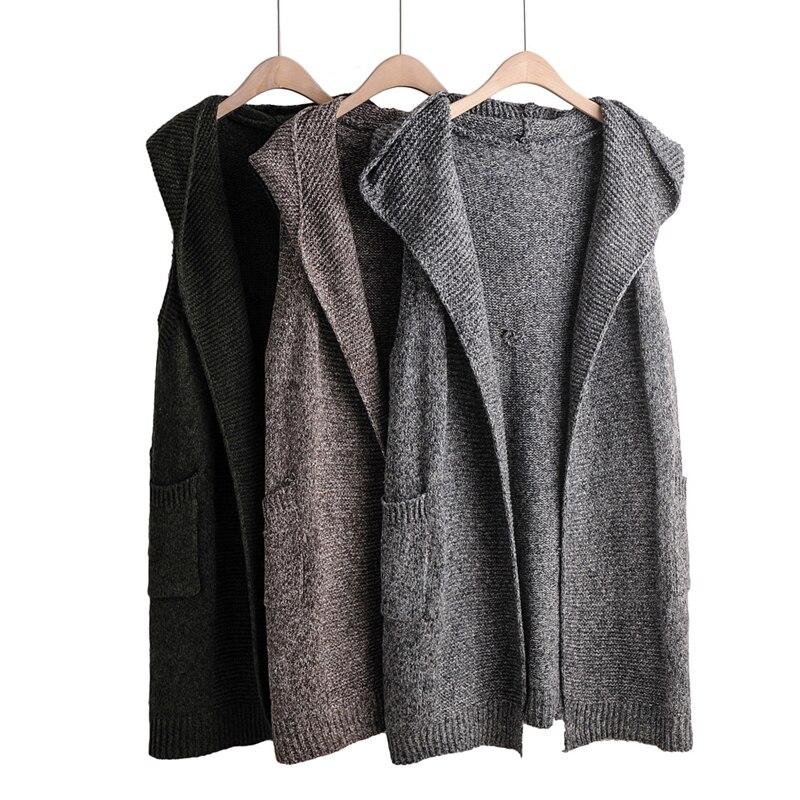 2019 femmes Outwear tricoté gilet à capuche automne longue solide sans manches Cardigan Femme Veste