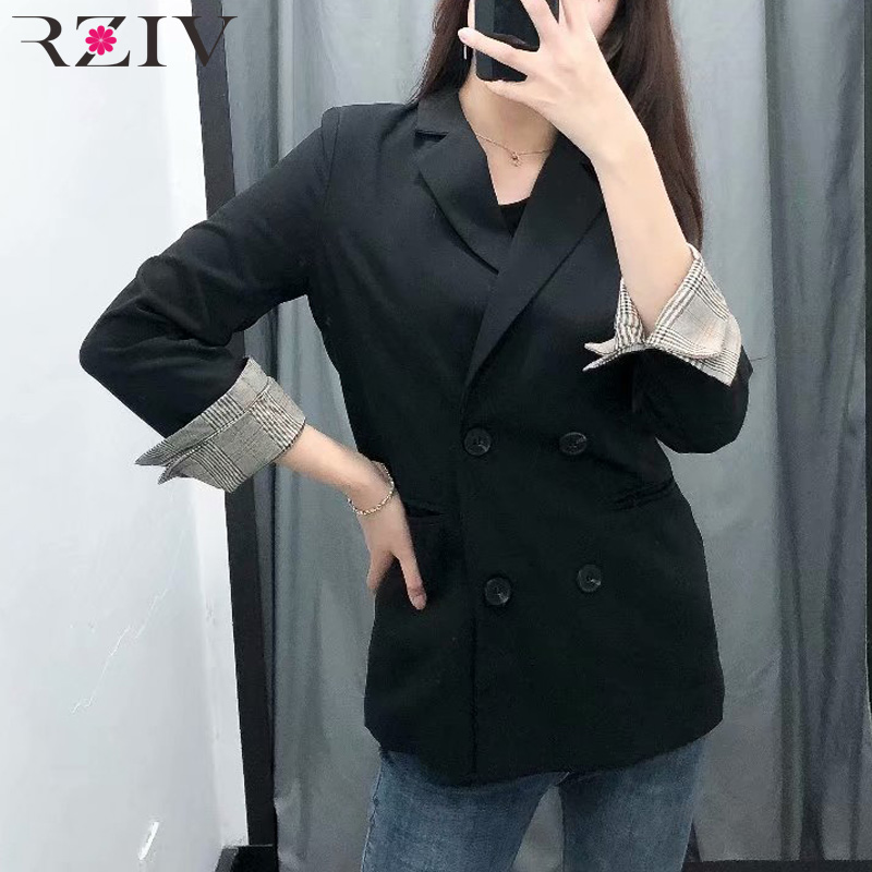 RZIV Autumn and winter female solid color double-breasted suit leisure suit rolled up their sleeves