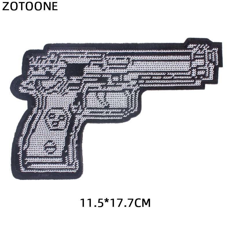 Pistol Embroiderd patch iron sew on patches for jackets shooting gun