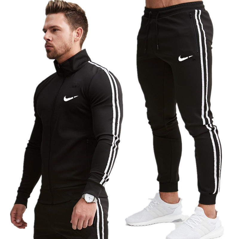 2 Pieces Sets Fashion Tracksuit Men New Brand Autumn Winter Hooded Sweatshirt +Drawstring Pants Male Stripe Patchwork Hoodies