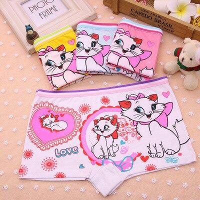 4Pcs/Lot New Children's Pants Girls Underwear Boxer Cotton Panties Cartoon Cat Underwear Boxer Briefs Underpants Clothes 2-8Y