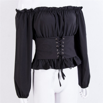 Fashion Women Off Shoulder Top Wear Lace-up Waist Corset Long Sleeves Autumn T-shirt New Sexy Pure Color Tee Tops Female T-shirt pink tiered flounced details crossed front cold shoulder long sleeves t shirt