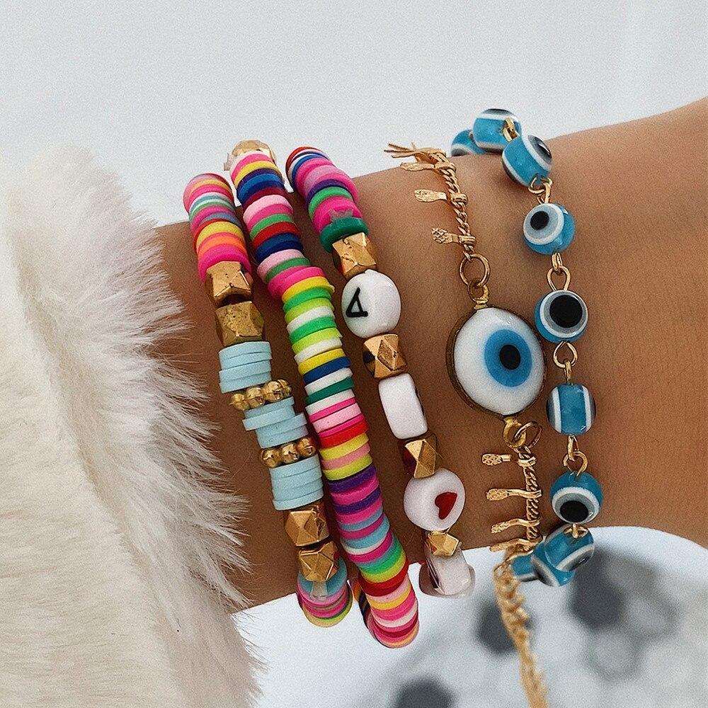 DIEZI Ethnic Multicolor Soft Clay Bracelet Sets For Women Fashion Hamdmade Letters Acrylic Beads Bracelet Couples Boho Jewelry