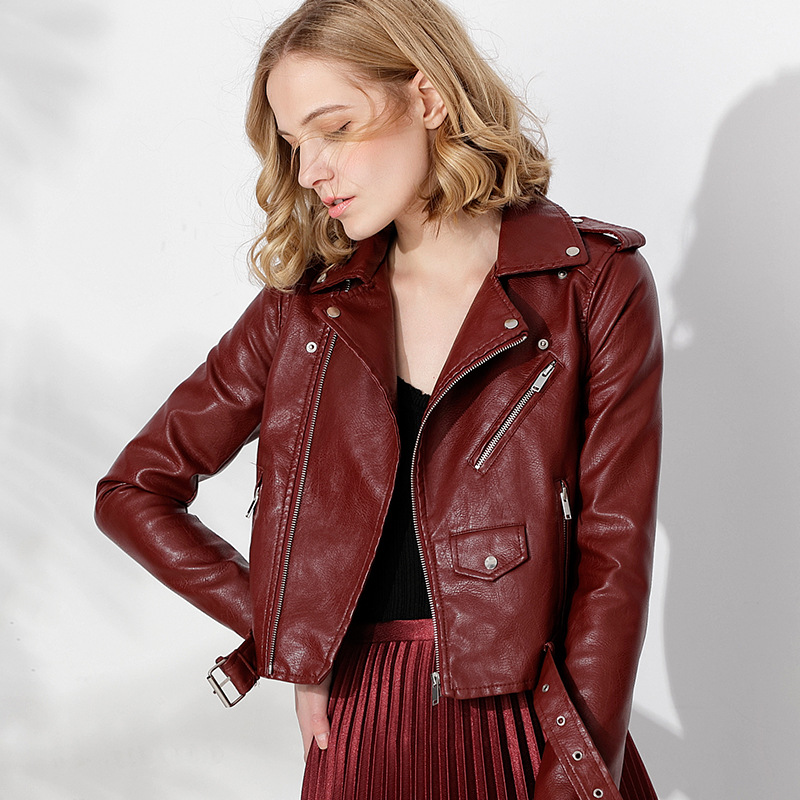 Instylish Women Short Faux   Leather   Biker Jacket Fashion Bright Colors Black Bomber Motorcycle Coat Female Soft PU   Leather   Jacket