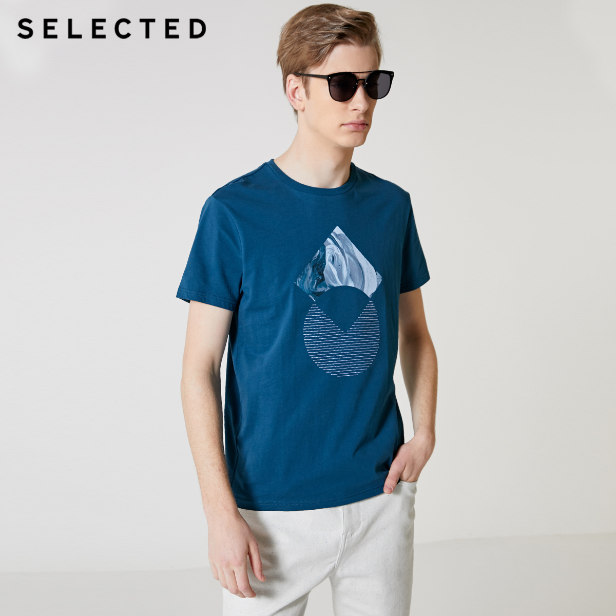 SELECTED Men's 100% Cotton Embroidered Short-sleeved T-shirt S|419201612
