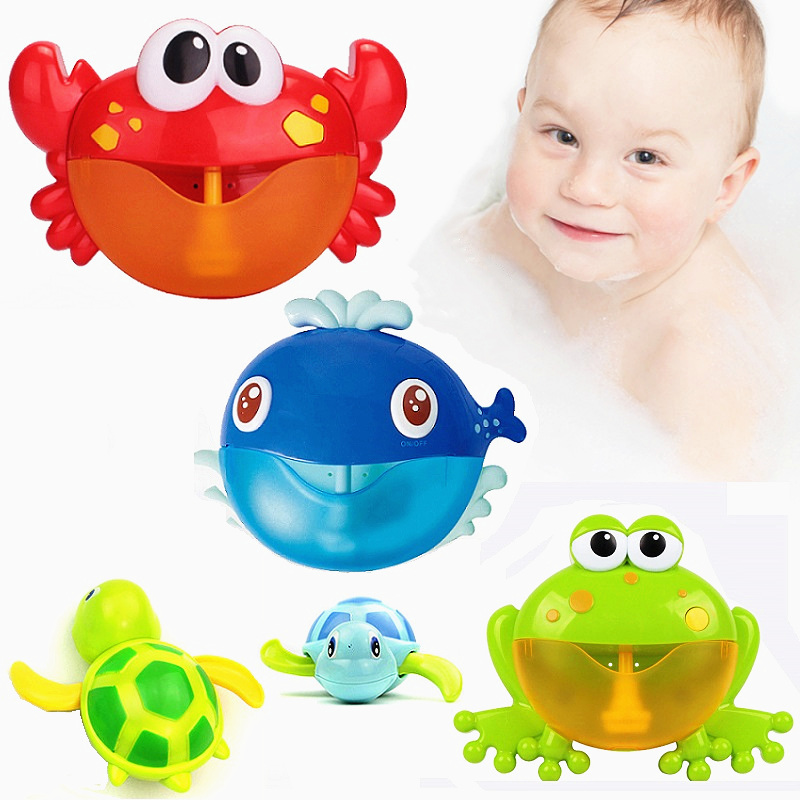 Bubble Crab Bath Toy Bubble Machine Crabs Frog Music Bathtub Soap Automatic Bubble Maker Bathroom For Toddlers Baby Kid Toy Gift