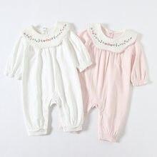 Macacão de bebê meninas roupas recém-nascidas algodão bordado macacões para bebês recém-nascidos dos tipos roupas 0-18 m 2 cor