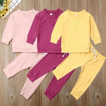 Newborn Baby Girl Boy Unisex Basic style Tracksuit Sports Set Top + Pant Pure Color Clothes Set