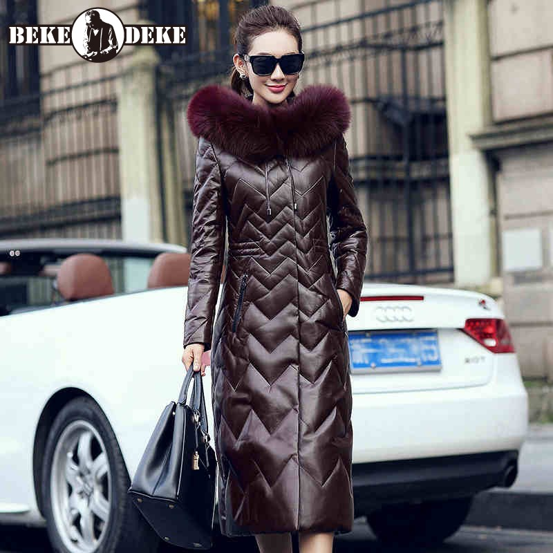 Winter 2020 Women Real Fox Fur Collar Hooded Down Jacket Luxury Elegant Slim Sheepskin Genuine Leather Coat Female Plus Size 5XL