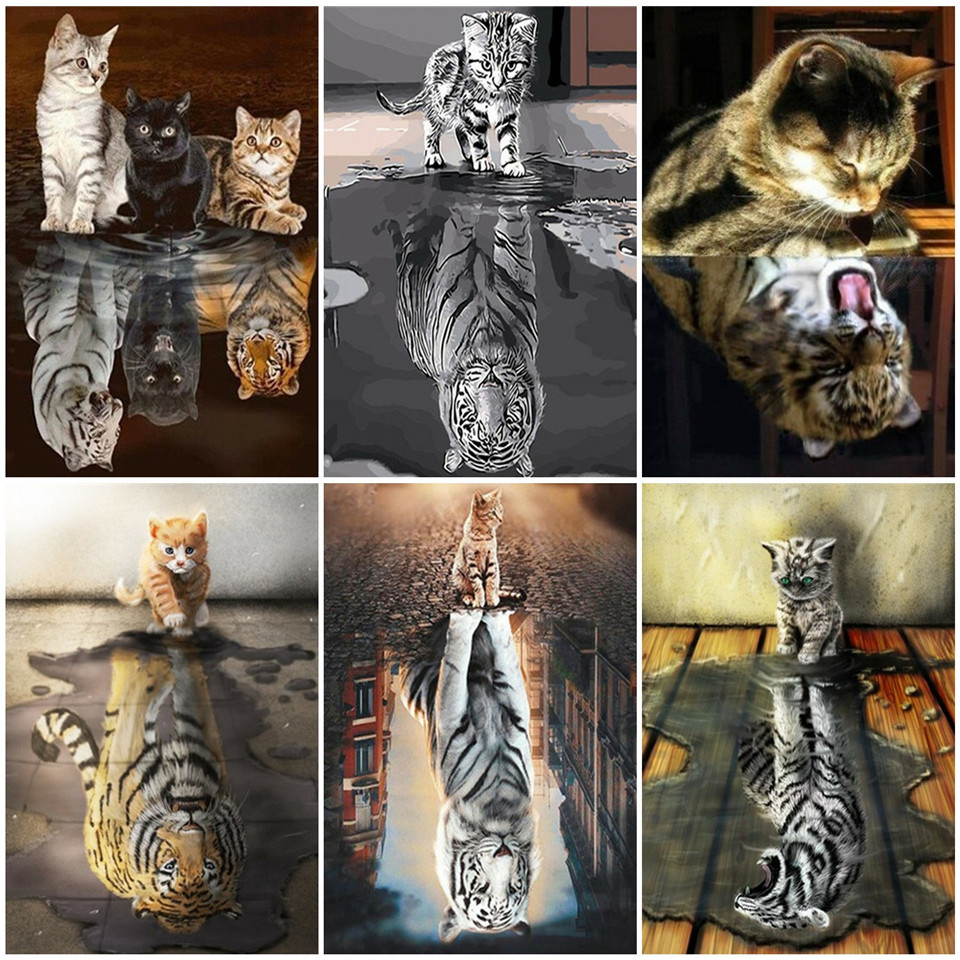 AZQSD DIY Oil Painting By Numbers Animal Acrylic Paint Unique Gift Unframe Pictures By Numbers Cat To Tiger Room Decor