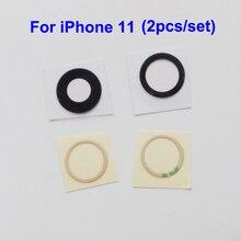 YUYOND 100 sztuk (50 zestaw) tylna soczewka aparatu tylnego obiektywu wymiana dla iPhone 11 z samoprzylepna naklejka hurtowa