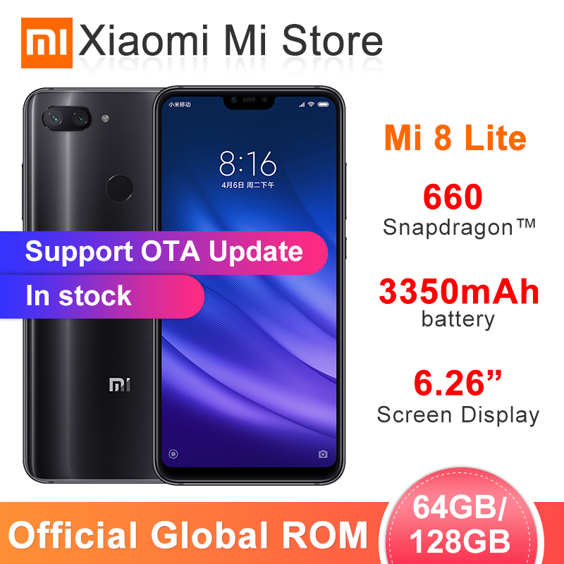 Global ROM Xiaomi mi 8 Lite 6GB RAM 64 GB/128GB ROM Smartphone Snapdragon 660 de 6,26 2280x1080 FHD + pantalla 24.0MP cámara frontal