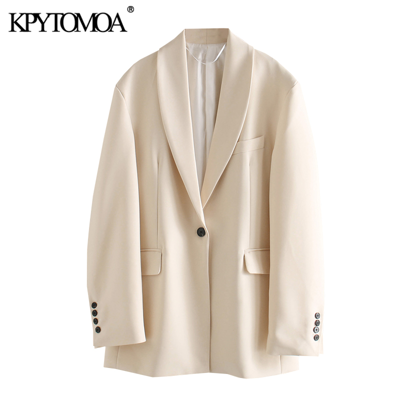 KPYTOMOA Women 2020 Fashion Single Button Oversized Blazer Coat Vintage Long Sleeve Pockets Loose Female Outerwear Chic Tops