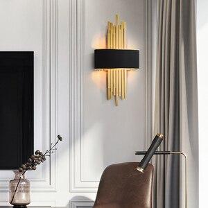 Image 5 - Светодиодный настенный светильник в виде металлической трубы для гостиной, золотистый/черный корпус, лампа для спальни, лампа для гостиной, домашний декор в стиле лофт, 90 260 В, скандинавский светильник
