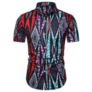 2019 Fashion Design African Traditional Print Cotton Linen Shirt For Unisex Short Sleeve Classic Fit Ethnic Succunct Hippie Tops