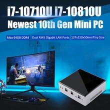 Eglobal Mini PC Intel Core i7 10810U 10710U 2 * DDR4 M.2 SSD NVMe Windows 10 çift bant WiFi HDMI DP 4K HTPC NUC tip-c 2 * Ethernet