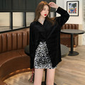New Style Winter Retro Hong Kong Flavor Drape Long Sleeve Velvet Shirt + Sequin Flashing Sheath A- line Short Skirt