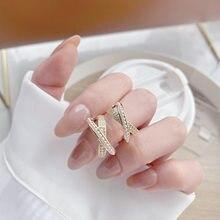 Coréia nova moda jóias 14k real banhado a ouro aaa zircon semicírculo pérola brincos cruz elegante festa de casamento feminino brinco