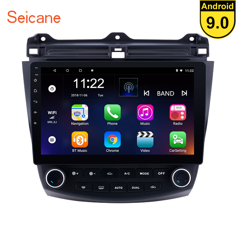 Seicane 10.1 inch Android 9.0 Car GPS Navigation Radio <font><b>Stereo</b></font> Player For <font><b>2003</b></font> 2004 2005 2006 2007 <font><b>Honda</b></font> <font><b>Accord</b></font> 7 Head unit image