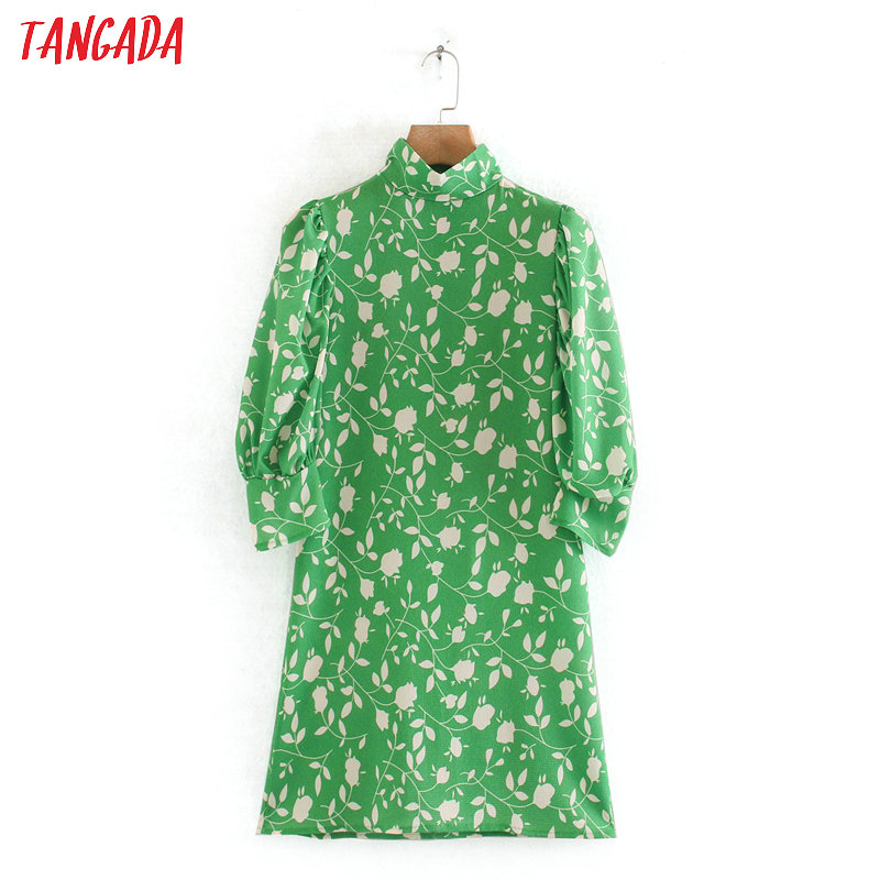 Tangada Fashion Women Leaf Print Green Summer Dress Puff Short Sleeve Ladies Vintage Mini Dress Vestidos 2W119