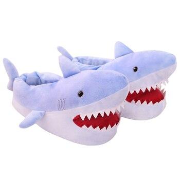 New Lovely ins Shark Plush Indoor Slippers Warm Winter Adult Slipper Stuffed Cartoon Animal Shoes Valentine Gift for Girls