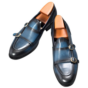 Image 2 - Cuir véritable hommes chaussures décontractées marron bleu couleur bureau affaires Oxford Double boucle sangle italie Style chaussure