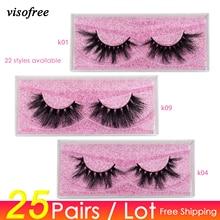 Visofree 25 çift/grup Vizon Kirpiklere 3D Vizon Kirpikler Gaddarlık ücretsiz kirpik El Yapımı Kullanımlık Dramatik kirpik makyajı Yanlış Lashes