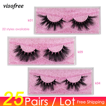 Visofree 25 pairs/lot Mink Lashes 3D Mink Eyelashes Cruelty free Lashes Handmade Reusable Dramatic Eyelashes Makeup False Lashes