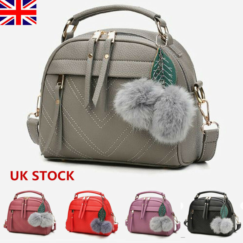 Women Fashion PU Leather Handbag Tote Small Pompom Shoulder Bag Purse Cross Body Waist Packs