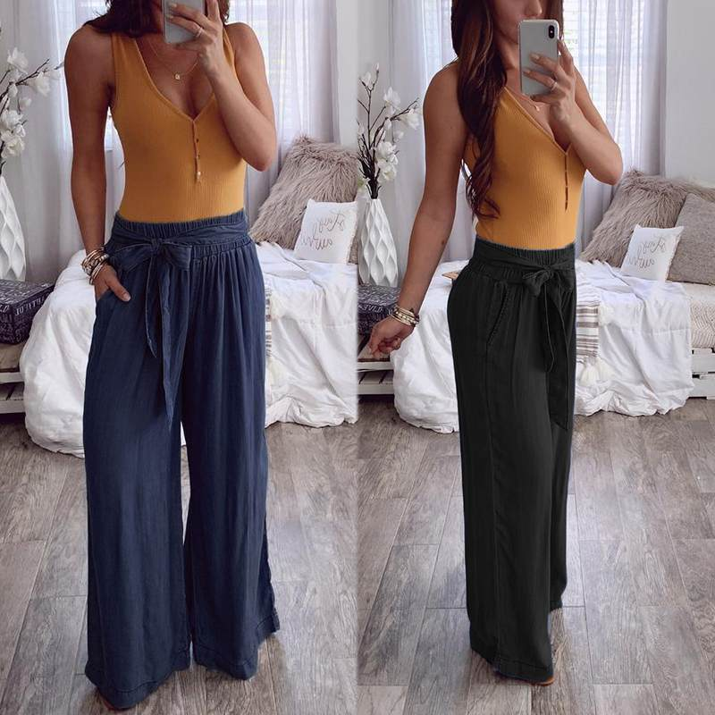 ZANZEA 2020 Fashion Ladies Casual Elastic Waist Trousers Solid Belted Long Pants Loose Pockets Women Wide Leg Pantalones Mujer