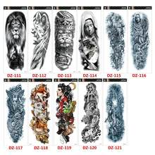 NEUE Große Arm Sleeve Tattoo Lion Crown König Rose Wasserdicht Temporäre Tatoo Aufkleber Wilden Wolf Tiger Männer Voller Schädel Totem tatto(China)