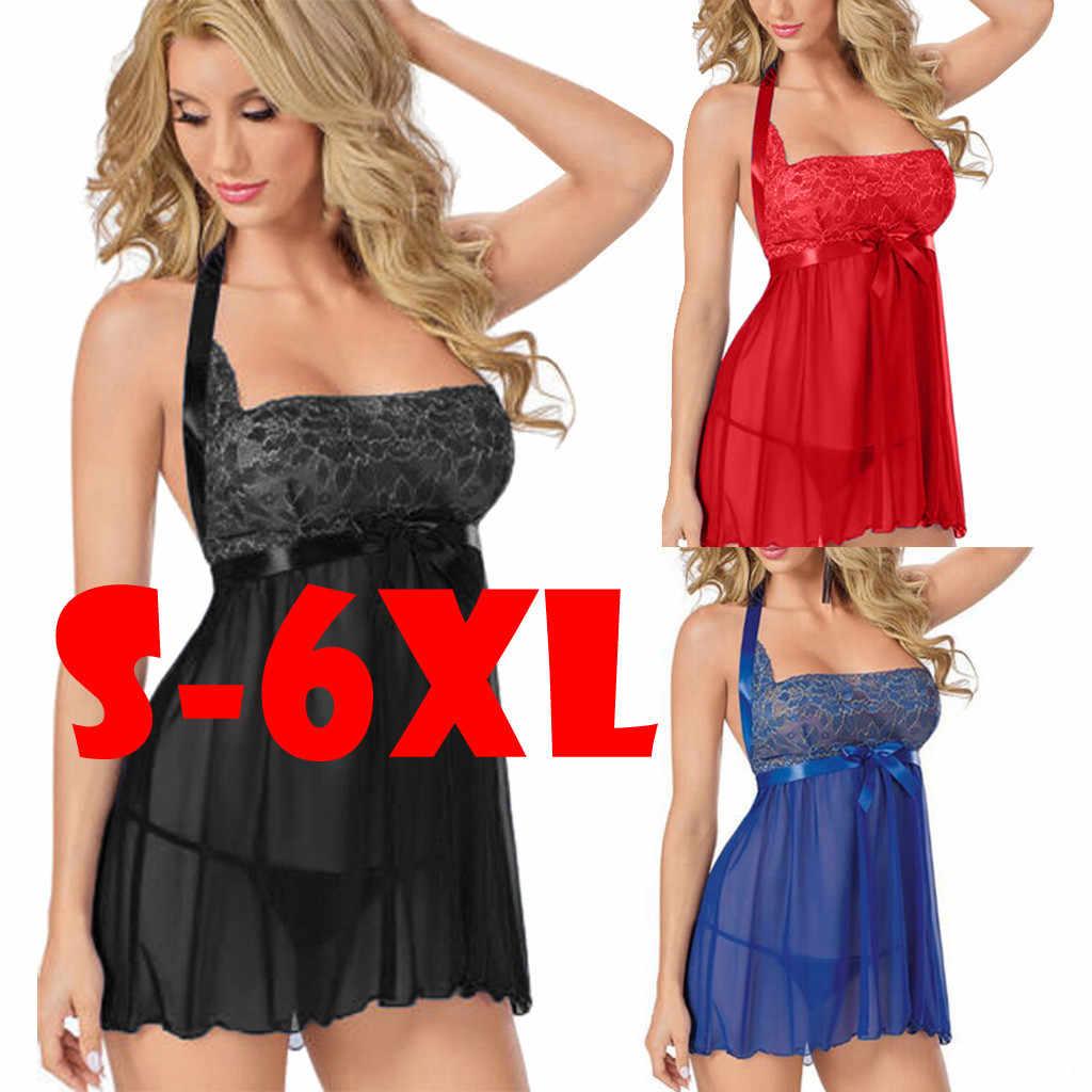 Fashion Wanita Sexy Baju Tidur Plus SizeS-6L Renda Baju Tidur Baju Tidur Dress G-string Lingerie Seksi Jubah Babydoll Lounge Set @ 50