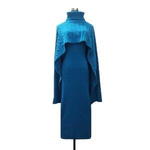 Image 5 - 가을 겨울 여성 두 조각 스웨터 드레스 니트 트위스트 느슨한 망토 turtlenek 자르기 위쪽과 긴 분할 bodycon 조끼 드레스