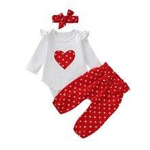 Newborn Baby Girls Clothes Long Sleeve heart print T-shirt+red polka dot Pants+Headband Infant 3Pcs Baby Girls Clothing Set D20 цена 2017