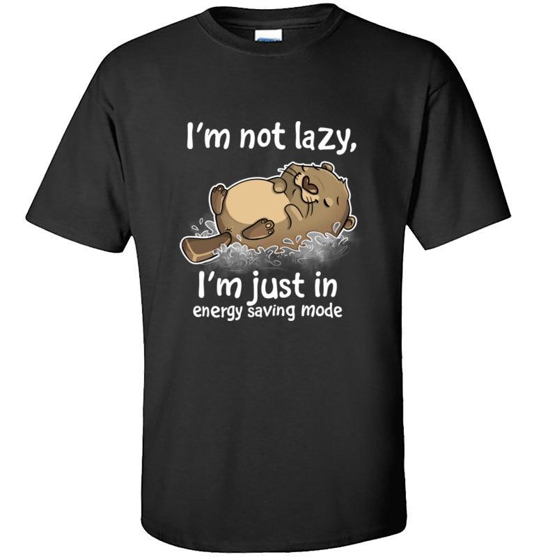 Energy Saving Mode Otter Tops T Shirt Classic Printed Tshirt Letter Round Collar Leisure Short Sleeve Cotton Men Tshirts Custom