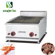 Cabeça de casal smokless baker máquina de carne kebab de Cordeiro grelhado máquina GLP gás Lava Rock Grill CHURRASCO churrasco máquina